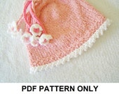 Knit Hat Knitting Pattern - Girls Knit Hat Pattern - the PENELOPE Hat (Newborn Baby Toddler Child & Adult sizes incl'd)