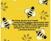 Proverbs 24:13-14 Art Print. Bees Illustration. Wisdom is like Honey. Christian Art.
