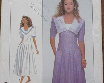 Vintage 80s Sewing Pattern -- Simplicity 9092 -- 80s Dress -- Middy Collar -- Short Sleeve Dress -- Small