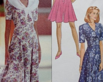 Vintage 90s Sewing Pattern, Butterick 6137, 90s Dress, 90s Culotte Dress, Fit and Flare Dress, Princess Seams, Multi Size XS Small