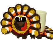 Turkey Coasters, Crochet Turkeys, Dark Colored Thanksgiving Decoration, Set of 2 Turkey Hot Pads