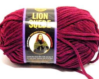 Lion Brand Suede Yarn Skein Suede Fuchsia Yarn Bulky Weight Yarn Rare DISCONTINUED