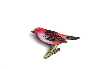 Scarlet Tanager bird brooch pin