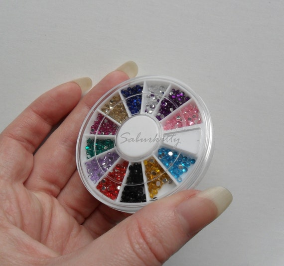 Nail Art Rhinestones 2mm 12 Color 1200pc Mini red blue green yellow pink clear solid black round wheel cabochon 3d nail decor supplies