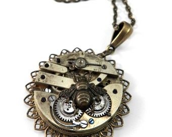 Steampunk Necklace Clockwork Honey Bee on Time - Mechanical Watch Movement Pendant, Steampunk Jewelry by compassrosedesign