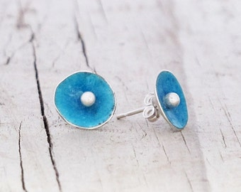 Eco Friendly Turquoise Blue Sterling Silver Enamel Earrings Recycled silver earrings Blue torch-fired Enamel round upcycled small stud post