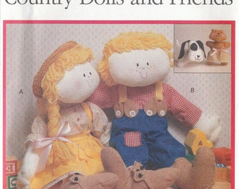 Sewing Pattern Country Dolls and Friends Dressed Dolls Dog Bear Toys Wendy Everett Uncut 1990
