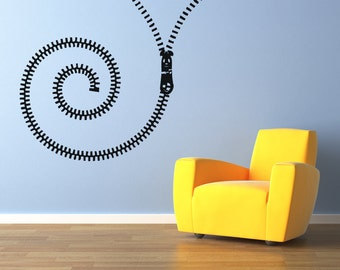 Vinyl Wall Decal Sticker Spiral Zipper OSAA1342s