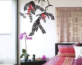 Vinyl Wall Art Decal Sticker Hummingbird and Plant OSDC677s