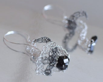 Earrings - wire crochet sterling silver handwoven curly lace and black quartz gemstone wire crochet wearable art jewelry OOAK - Classy Duo