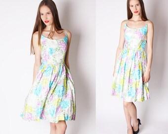 Neon 1950s Wedding Dress / Pastel Roses / Dress / Dresses / Mad Men / Vintage Wedding Dress / Floral / Flowers / Bombshell / Pinup / 1138