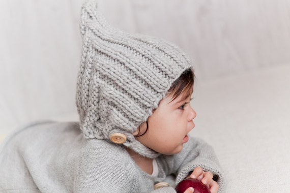 Knit Baby Hat Christening Baptism accessorie Newborn Knitted Infant Photo Prop Gray All Sizes Pixie Beanie