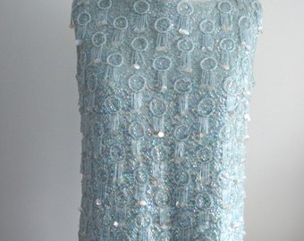 Vintage 60's  RECALIA Womens Blue Beaded SEQUINED Sweater Vest Top Blouse L