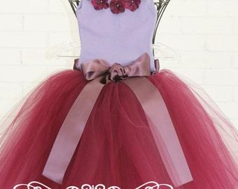 flower girl dress, long tutu, long tulle skirt, red tutu dress,