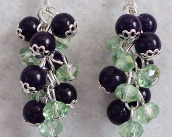 Dangle Earrings, Gemstone Earrings, Jade Gemstone, Purple and Green, Traditional Earrings, Floral Earrings - FLORAL BOUQUET