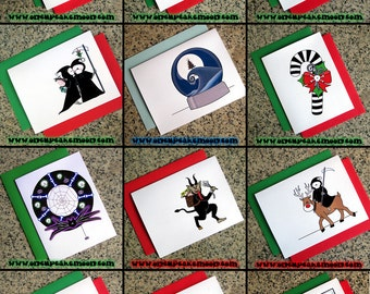 SINGLE CARD alternative goth holiday pagan christmas cards choose from 32 designs - dark custom personalized handmade seasons greetings