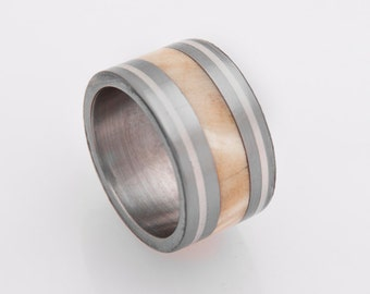 Titanium Ring Man RIng Mens Wedding Band with wood ring and titanium ring