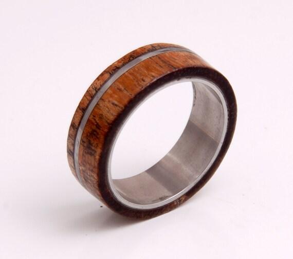 hawaiian koa ring titanium wood ring wedding band