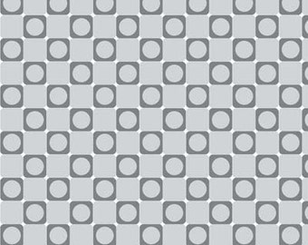 Anything Goes Basics Grey Dot in Square / Gray Checkerboard Fabric - Henry Glass