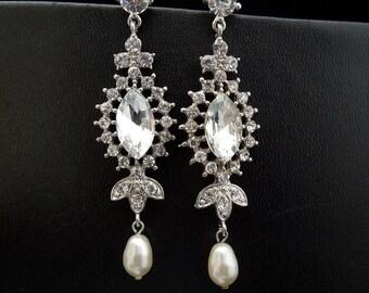 Pearl Rhinestone Earrings,Bridal Rhinestone Earrings,Ivory Swarovski Pearls,Bridal Stud Earrings,Statement Bridal Earrings,Pearl, Stud,YVES