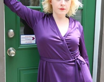 Vintage 70s Wrap Dress in Deep Purple: The Maneater Dress