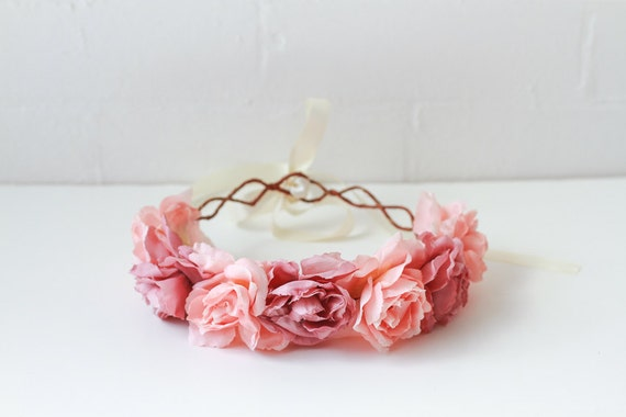 rose crown headband - pastel pink, flower crown, Lana del ray, santa monica, large rose hair wreath, festival crown, romantic.