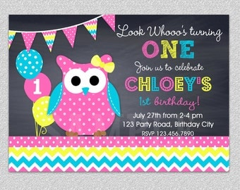 Owl Birthday Invitation Chevron Owl Birthday Party Invitation Printable