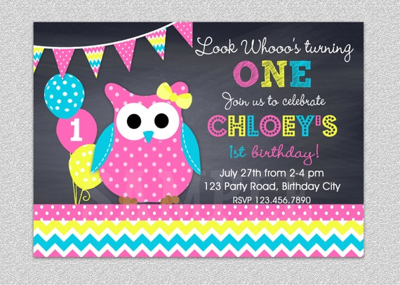 Owl Birthday Invitation Chevron Owl Birthday Party Invitation – Owl Party Invitations