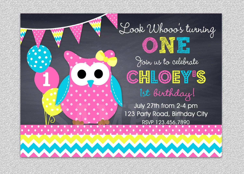Owl Birthday Invitation Chevron Owl Birthday Party Invitation – Owl Birthday Invitations