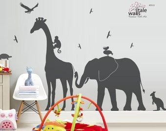 Giraffe Elephant Monkey wall decal jungle safari nursery theme,children bedroom, Kids Bedroom. Kangaroo, pelican, swallow,eagle decal - d533