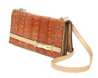 Almande, French Vintage, 1970s Tan Snakeskin Leather Purse Clutch Handbag from Paris