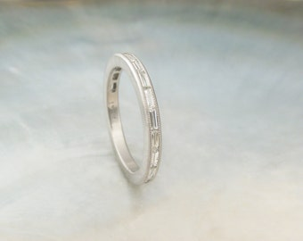 channel set baguette diamond band -- diamond platinum wedding band / engagement ring