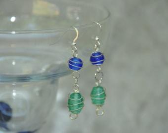 Earrings, Royal Blue and  Aqua Green Glass Wire Wrapped Dangle Earrings-  -