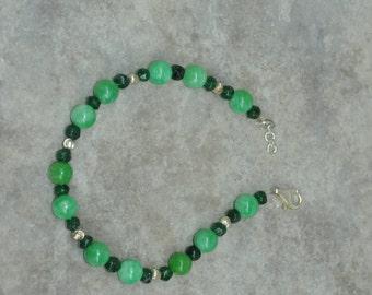 Bracelet, Green, Aventurine, Sterling Silver, handmade jewelry, handmade bracelet, beaded bracelet, bead bracelet, gift for her, ooak, gift