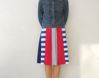 T Shirt Skirt Women's Skirt Recycled Tee Skirt Red Navy Blue Gray Upcycled Skirt Handmade Skirt Cotton Skirt Summer Skirt