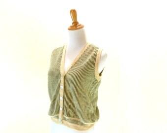 Vintage 80s Knit Link Olive Sweater Vest Oversized Grandpas Sweater M/L