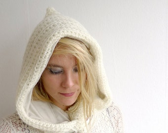 Off White Elf Hood - Crochet Pixie Hood - Winter Accessories - Hooded Cowl - Fairy Snood - Jersey Lined Mohair Hood - Psytrance Clothing