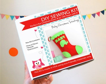 Stocking Sewing Kit, Felt Kids' Crafts, Felt Sewing Kit in a Box, 8+ years old craft, No need sewing machine READY TO SHIP A763