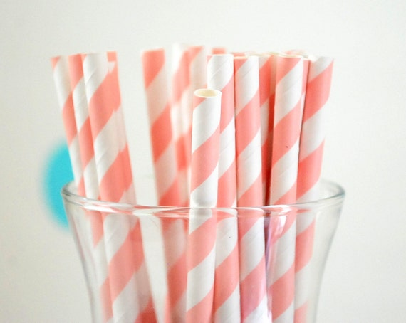 25 Paper Straws , Stripped Straws, Baby Pink Paper Straws or Select color Paper Straws A753