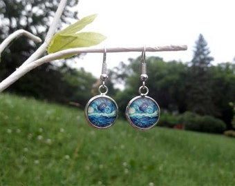 Doctor Who van Gogh Starry Night TARDIS earrings 1/2 inch 12mm  silver bronze copper gunmetal