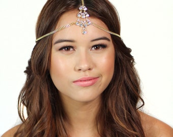 Gold Crystal Tikka Chain Headpiece