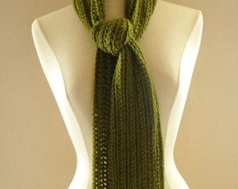 Crocheted Men or Womens Light and Simple Scarf Neckwarmer Sage Green