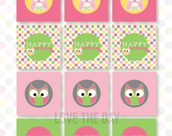 Night Owl Sleepover PRINTABLE Party Tags (INSTANT DOWNLOAD) by Love The Day