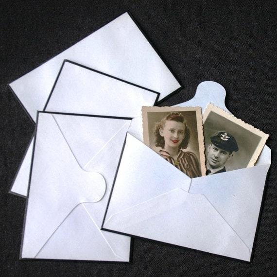 Mourning stationery. Black and white antique mini envelopes.