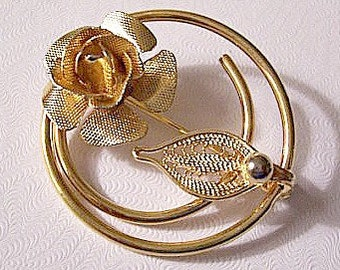 Rose Flower Leaf Bead Pin Brooch Gold Tone Vintage Sarah Coventry Thin Ribbed Smooth Open Circle