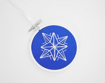 "Handmade Christmas Ornament in Royal Blue and White, Snowflake Embroidery Hoop Ornament or Holiday Decoration For The Winter, 3"" Hoop"