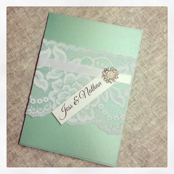 Mint Invitations Wedding: Items Similar To Mint Green Vintage Lace Wedding