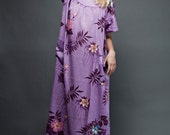 vintage 70s dress muumuu cotton tent boho maxi purple floral one size plus size 1X 2X