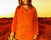 Vintage 1960s Hippie BoHo Tan Suede Jacket, Festival Jacket,,Woodstock Suede Coat,Double Breasted Hippie Jacket,1960's BoHo Coat, Indie