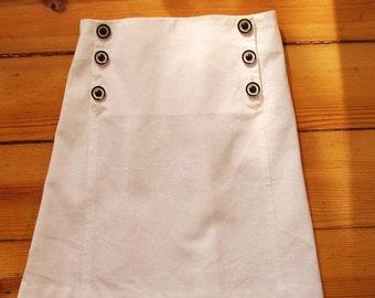 SKIRT AHOI, White Children's Sailor Skirt with Front Flap Button Closure, Knee-length, Summer-Skirt, Linen-Cotton-Blend, Maritime Style